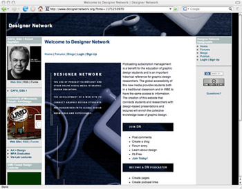 screen capture of designer network. a podcasting site dedicated to design